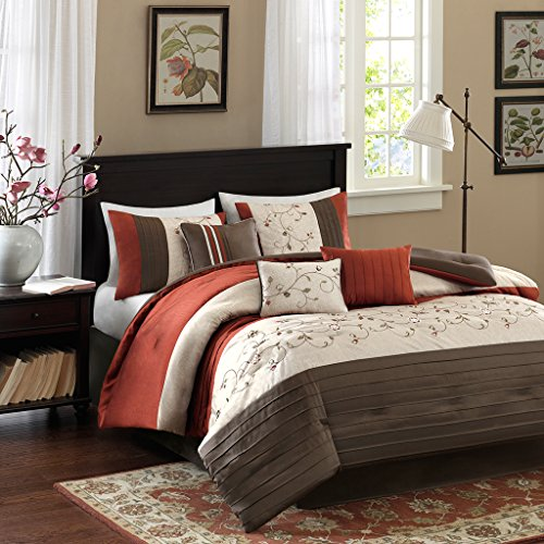 Cal King Size Bed Comforter Set Bed in A Bag - Orange, Embroidered – 7 Pieces Bedding Sets – Faux Silk Bedroom Comforters ()