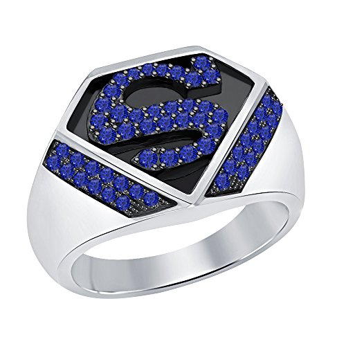 RUDRAFASHION 1.33 CT Round Cut Created Blue Sapphire 14K Two-Tone Gold Over .925 Sterling Silver Superman Logo Shield Men's Ring (Superman Silver Shield)