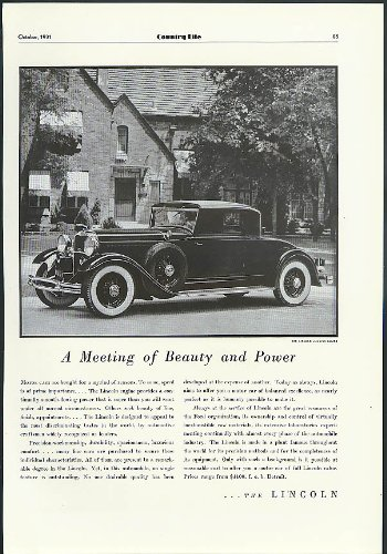- A Meeting of Beauty & Power Lincoln Judkins Coupe ad 1931 1932