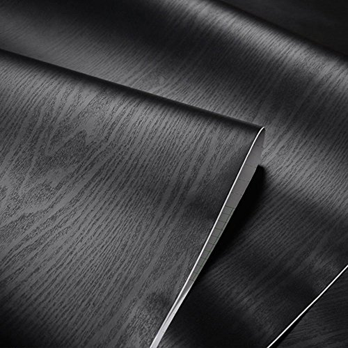 Textured Black Wood Grain Contact Paper Self Adhesive Shelf Liner for Bathroom Kitchen Cabinets Shelves Countertop Table Arts Crafts Decal 24x117 Inches by Glow4u