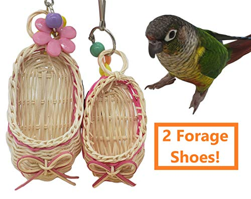 (Tropical Chickens Forage Foot Shoe, Parrot Bird Cage Toy, Conure Lovebird Cockatiel (Forage Shoe 2 Pack))
