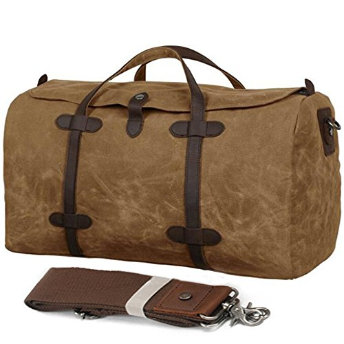 FXTXYMX Waterproof Waxed Canvas Leather Travel Duffels Bag Canvas Genuine Trim Shoulder Tote Handbag Weekend Bag (Khaki)