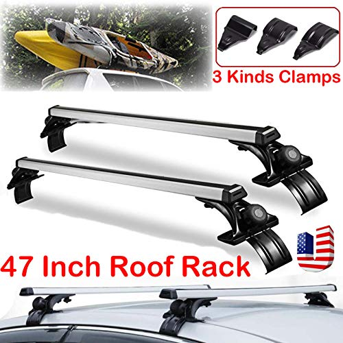 "Roof Rack Crossbars 47"" Universal Cross Rack - Carry Your Canoe, Kayak, Cargo Safely with Aerodynamic Design - Mounts to The Rooftop of 