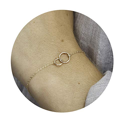 (Sisters Bracelets for Women,14K Gold Plated Handmade Dainty Chain Hammered Two Circles Cute Charm Linked Rings Friendship Generations Bracelet)