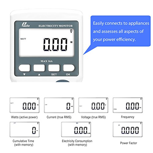 Kilowatt Usage Meter : Poniie pn digital electricity kilowatt power energy