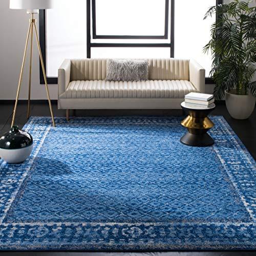 (Safavieh Adirondack Collection ADR110F Light Blue and Dark Blue Vintage Distressed Square Area Rug (6' Square))