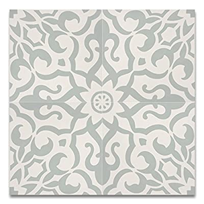 Moroccan Mosaic & Tile House CTP57-01 Atlas 8''x8'' Handmade Cement Tile (Pack of 12), Light Green White