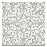 Moroccan Mosaic & Tile House CTP57-01 Atlas Handmade Cement Tile 8''x 8'' Light Green,White