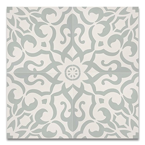 Moroccan Mosaic & Tile House CTP57-01 Atlas 8''x8'' Handmade Cement Light Green and White (Pack of 12) -