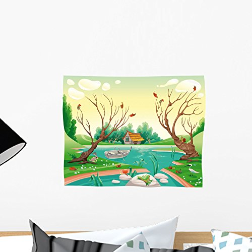 Pond and Animals Funny Wall Mural by Wallmonkeys Peel and Stick Graphic (18 in W x 14 in H) - By Pond The Hut