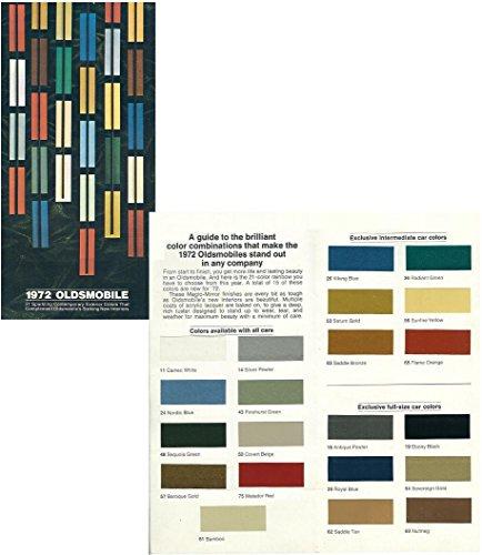 1972 OLDSMOBILE FULL-LINE EXTERIOR COLORS VINTAGE COLOR SALES BROCHURE FOLDER - USA - GREAT ORIGINAL (Oldsmobile Full Line Sales Brochure)