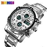 Skmei Mens Watches Top Brand Luxury Quartz Analog LED Digital Analog Watch Men (Silver White)
