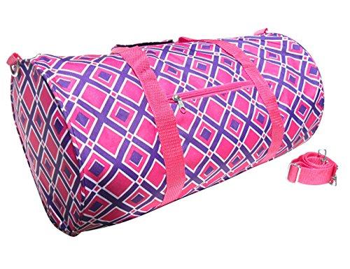new-pink-purple-diamond-soft-travel-weekender-barrel-cheer-gym-duffle-bag-travelnut-unique-fun-birth