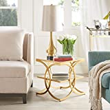 Madison Park Two-Tier Mirror Top End Table in Gold Plated Metal Frame