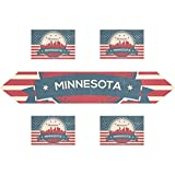 Vintage American Flag Minnesota State Minneapolis Skyline Rectangle Table Runner 13 x 70 inch with Placemat Table Mat 12 x 18 inch Set of 6, for Wedding, Party, Dinner, Summer & Picnic Country Outdoor
