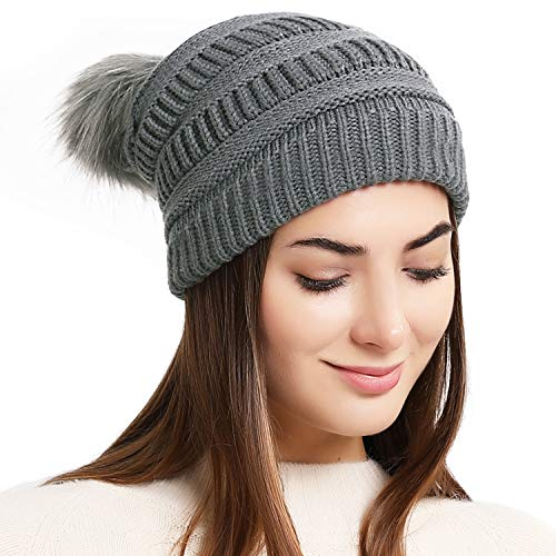 Double Couple Women Winter Knit Hat with Pom Pom Thick Slouchy Beanie Hats Ski Skull Cap (Gray)