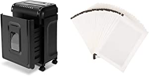 AmazonBasics 8-Sheet High-Security Micro-Cut Shredder with Pullout Basket & Paper Shredder Sharpening & Lubricant Sheets - Pack of 24