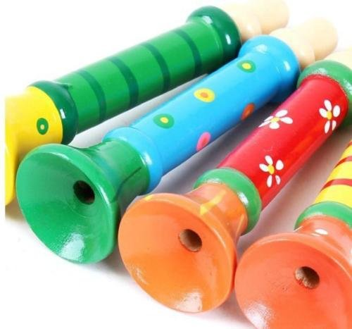 UNAKIM-Cute Multi-Color Wooden Horn Hooter Trumpet Baby kids Instruments Music Toy - Wooden Oregon Sunglasses
