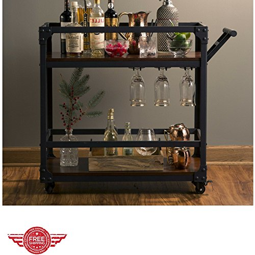 Bentley Industrial Metal And Wood Wheeled Kitchen Serving: Bar Serving Cart Utility Portable Multipurpose Industrial