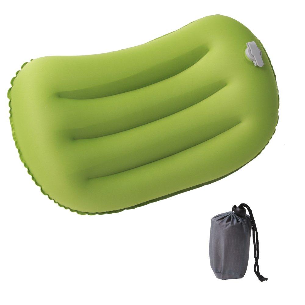 letsfunnyインフレータブルキャンピング圧縮可能な&快適枕軽量旅行枕、ハイキング、キャンプ、バックパッキング、車、旅行 グリーン LF-PL GR003 B07724WS6C  グリーン