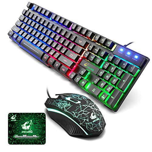 Winner666 2019 T5 Rainbow Backlight USB Ergonomic Gaming English Russian Keyboard and Mouse Set for PC Laptop (Black)