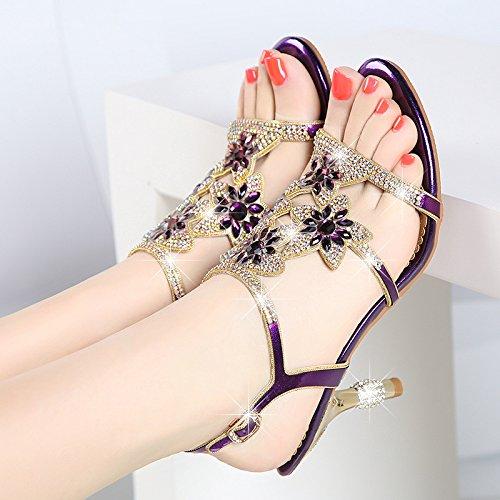 con Hembra Piso 33 Alto Zapatos Sandalias Zapatos Purple SUHANG Parquet Mujer Talón The Código Grin Pequeño RYvq55w