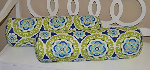Set of 2 - Indoor / Outdoor Jumbo, Large, Over-sized, Bolster / Neckroll / Lumbar Chaise Lounge Decorative Pillows - Green, Blue, White, Yellow Floral Sundial Bohemian
