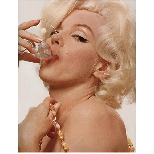 Marilyn Monroe Head Shot Drinking From Glass 8 x 10 Inch Photo