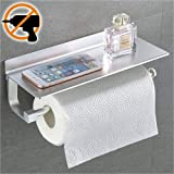 Wangel Paper Towel Holder Wall Mounted for Kitchen 13', Patented Glue + 3M Self-Adhesive, Aluminum, Matte Finish, Space Saving