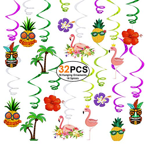 Hawaiian-Decorations-Luau-Party-Supplies 32 PCS Flamingo Hanging Swirls Decortions Ceiling Ornaments for Kids Boys Girls Theme Birthday Party, Baby Shower Party, Home, Bedroom - Out Flamingo Cut