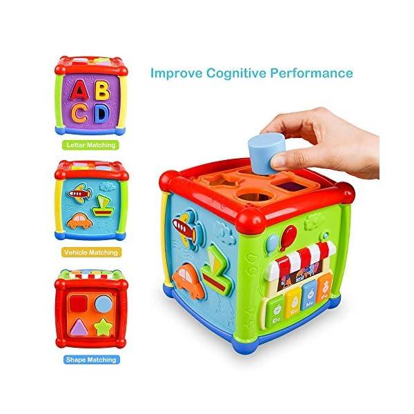 AiTuiTui Cubo attività Bambino, 6-in-1 Multifunzione Giochi Centri Educativi Prima Scatola di apprendimento Infanzia… 3