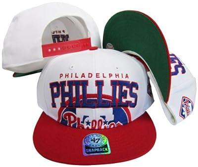 Philadelphia Phillies Two Tone Big Logo Plastic Snapback Adjustable Plastic Snap Back Hat / Cap