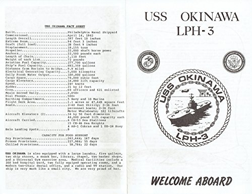 USS OKINAWA (LPH-3) U.S. NAVY AMPHIBIOUS ASSAULT SHIP 1985 WELCOME ABOARD BOOKLET; OFFICIAL PHOTO ()
