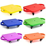 GSE Games & Sports Expert Kids Gym Class Plastic Scooter Board with Handles (6-Pack)