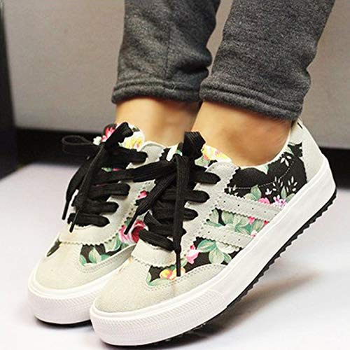 Feminino Shoes Women Women Sneakers Shoes Casual XINGMU Printed Woman Breathable Canvas Shoes Black d8wIfq