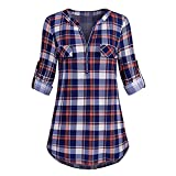 Bravetoshop Women Casual 3/4 Rolled Sleeve Plaid Shirt V-Neck Zipped Front Tunic (Purple, S)