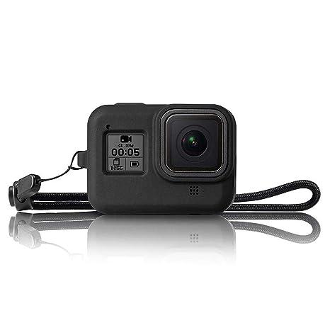 Womdee - Funda Protectora de Silicona para GoPro Hero 8, Color Negro, Carcasa de Goma, Accesorios de protección con cordón para cámara de acción GoPro ...