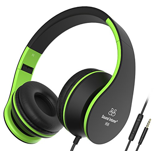 Headphones, Sound Intone Headphones with Microphone, Foldable Headset with Inline Volume Control Strong Low Bass for iPhone iPad Smartphones Laptop Mp3/4 (Black Green) by Sound Intone