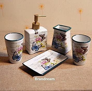 Brandream Country Style Butterfly Bathroom Accessories Set Luxury Bathroom  Sets 5PC Ceramic