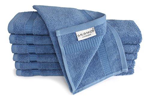 SALBAKOS Luxury Hotel & Spa Turkish Cotton 12-Piece Eco-Friendly Washcloth Set for Bath, 13 x 13 Inch, Blue