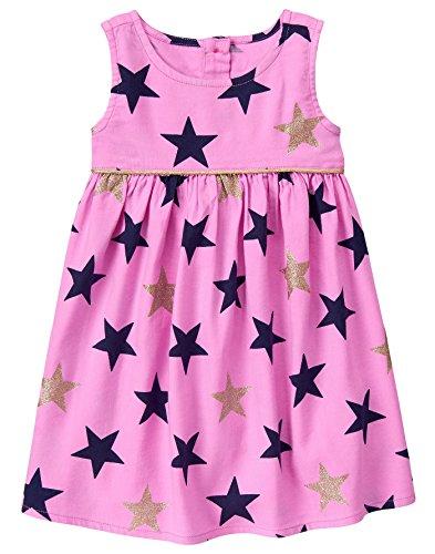 Gymboree - Vestido Estampado de Estrella para niña, Brillo Rosado, 4 Años