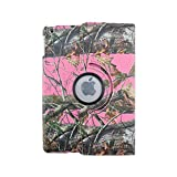 Pink Camo Tree Camouflage Woods Design Autumn Mossy Oak Leather 360 Rotating Case Cover for Apple Ipad Mini Case, Ipad Mini / Mini 2 Retina/ Mini 3 Case Cover Auto Sleep/wake Function Full Body Protective Case Cover Apple Ipad Mini 1/2/3 (Compatible with 7.9 Inch Tablet)
