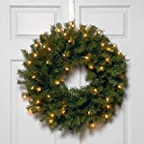 National Tree 24 Inch Norwood Fir Wreath with 50 Battery Operated Warm White LED Lights (NF3-308-24W-B)