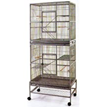 New Double Extra Large Wrought Iron Cage 3 Levels Bird Parrot Cage Cockatiel Conure Cage 30Length x 18Depth x 74Height W/Stand on Wheels *Black Vein* by Mcage