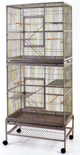 Double Level (New Double Extra Large Wrought Iron Cage 3 Levels Bird Parrot Cage Cockatiel Conure Cage 30