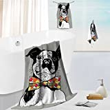 Leighhome Luxury 3-Piece 100% Combed Cotton Bath Towel Set hand drawn vector portrait of french bulldog in pink tie bow and monocle Soft & Absorbent