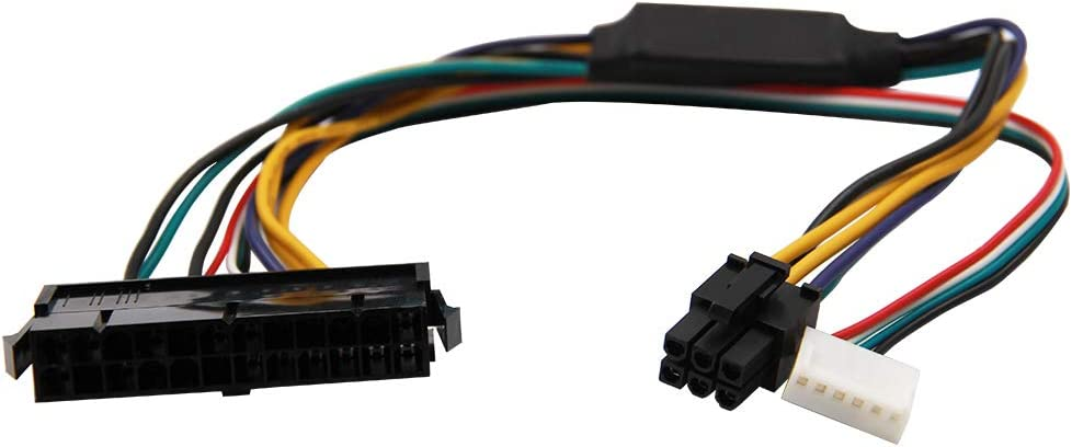 24-Pin to 6-Pin PCI-E PSU ATX Main Power Adapter Cable 18AWG for HP Z220//Z230 Workstation 30cm