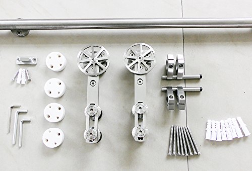 DIYHD 6FT stainless steel sliding barn wood door hardware movable spoke wheel brushed barn door sliding track kit by DIYHD (Image #4)