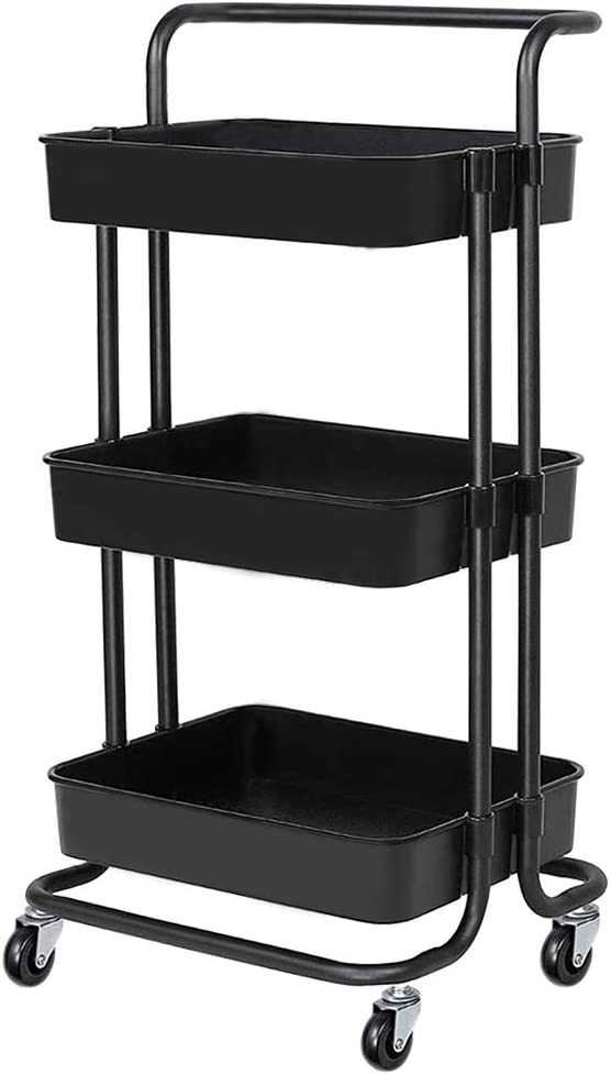 Amazon Com 3 Tier Rolling Carts With Wheels Storage Cart Makeup Cart With Roller Wheels Mobile Storage Organizer For Kitchen Bathroom Office Coffee Bar Kitchen Dining