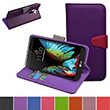 LG K7 Case,LG Tribute 5 Case,Mama Mouth [Stand View] Flip Premium PU Leather [Wallet Case] With Credit Card / Cash Slots Cover For LG K7 LTE M1 LS675 K SERIES / Tribute 5 Smartphone,Purple